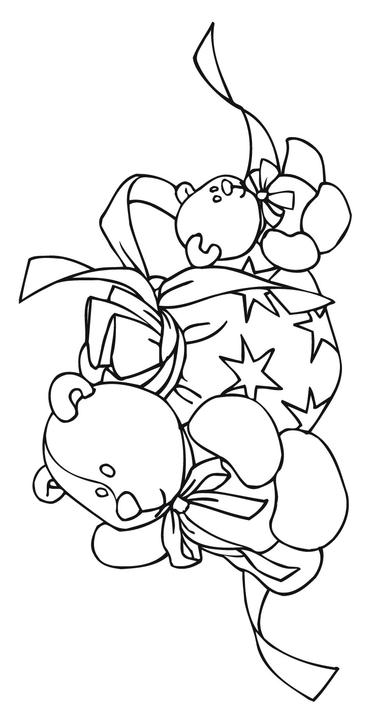 xmas coloring wreath and teddy bears