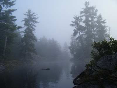 misty morning in Barron Canyon, Algonquin Park