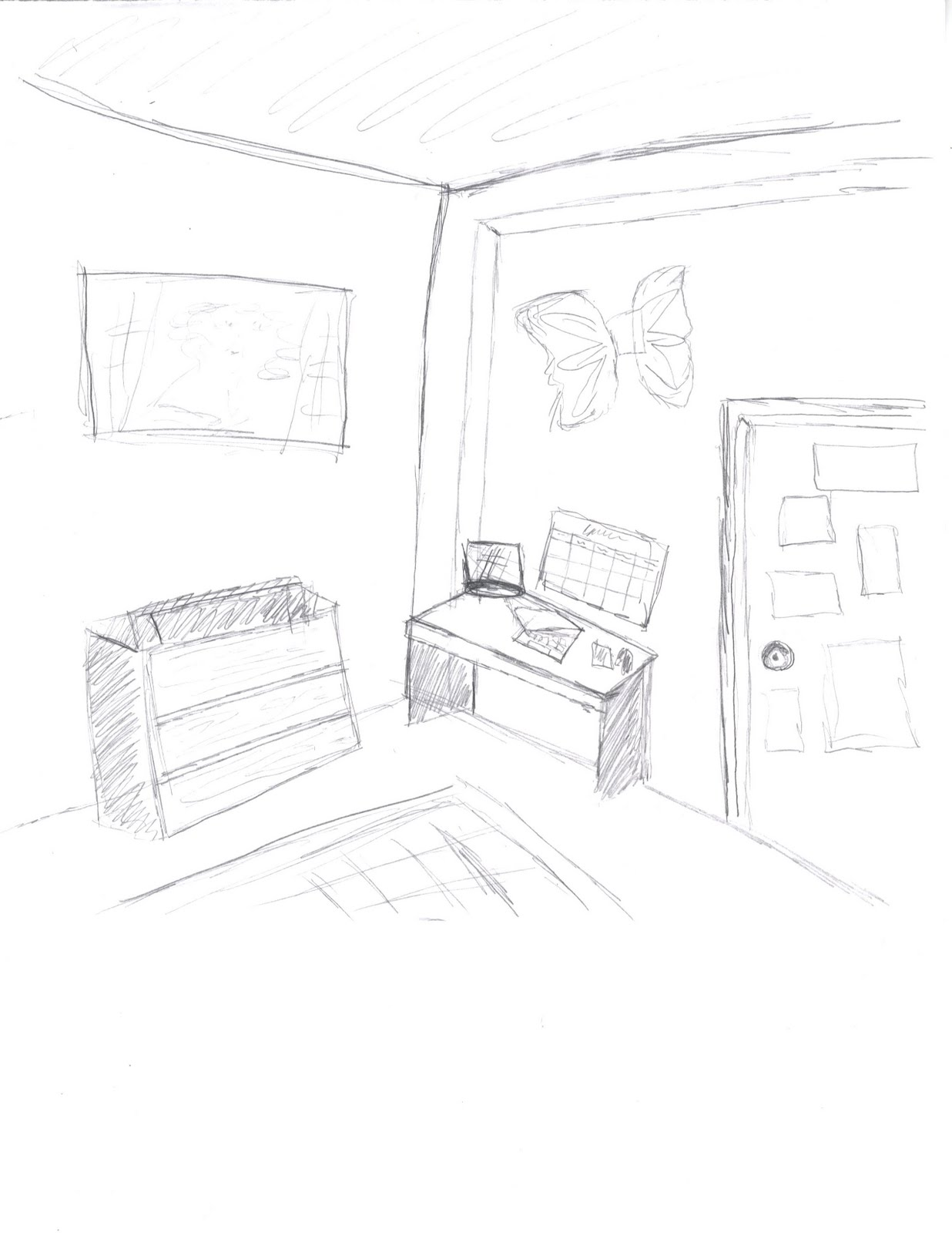 Living Room Sketch: Paige's Design Portfolio: Corner Room