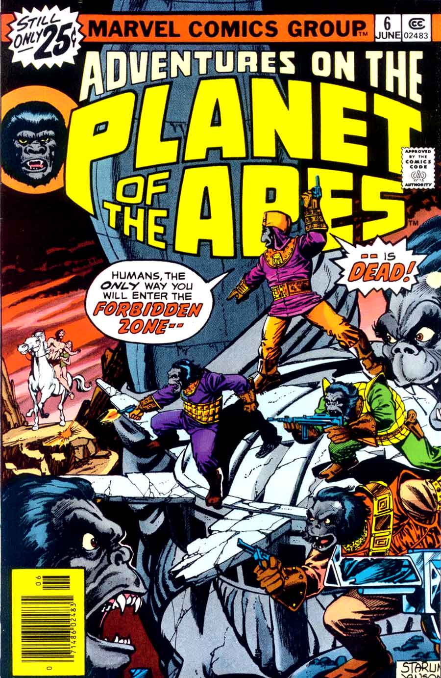 Adventures on the Planet of the Apes #6 marvel 1970s comic book cover by Jim Starlin