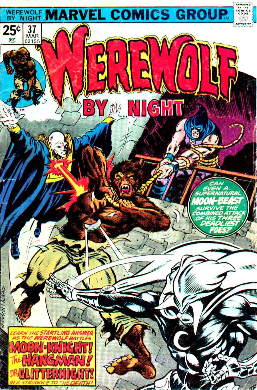 Werewolf by Night v1 #37 1970s marvel comic book cover art by Bernie Wrightson