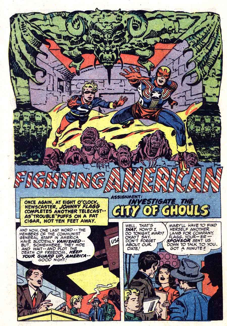 Fighting American v1 #2 harvey comic book page art by Jack Kirby
