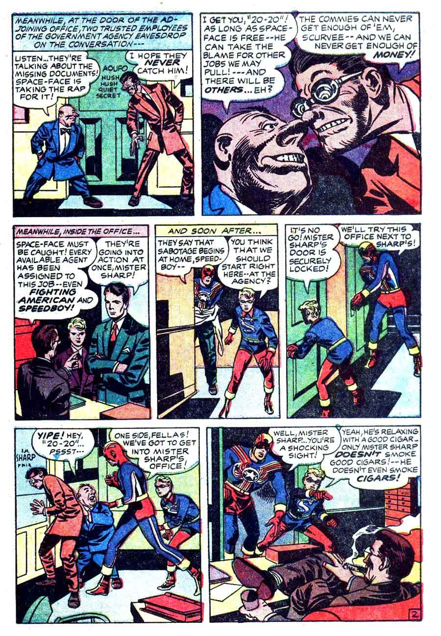 Fighting American v1 #7 harvey comic book page art by Jack Kirby
