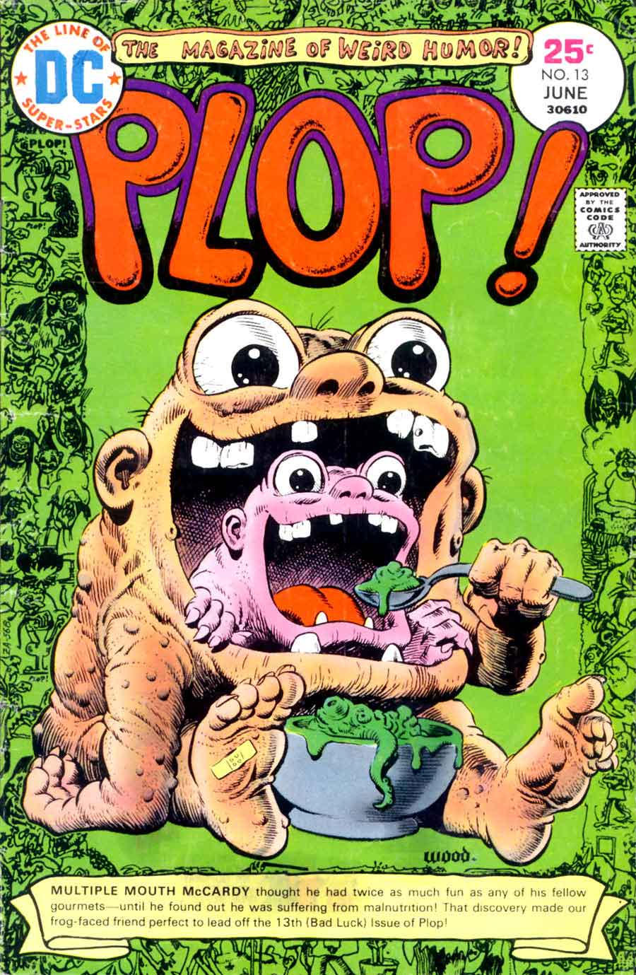 Plop v1 #13 dc 1970s bronze age comic book cover art by Wally Wood