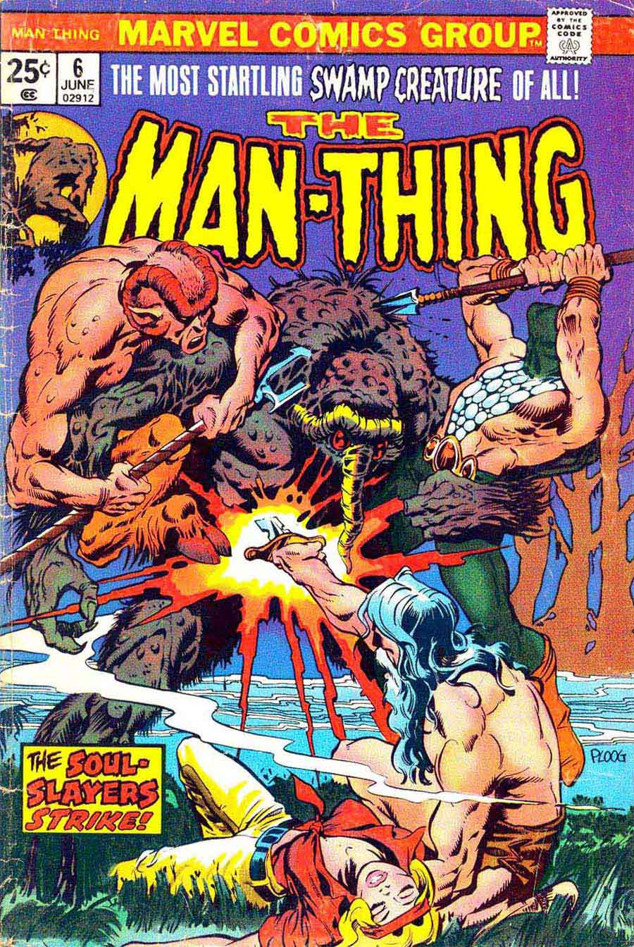Man-Thing v1 #6 marvel 1970s bronze age comic book cover art by Mike Ploog