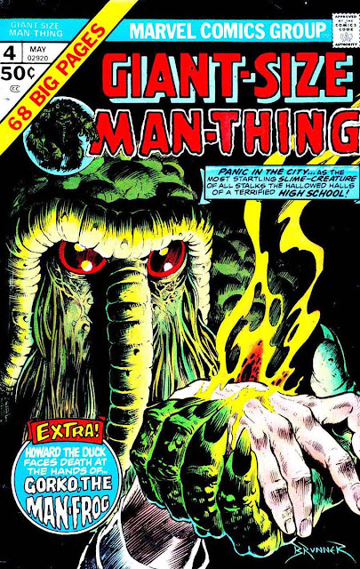 Giant-size Man-Thing v1 annual #4 marvel 1970s bronze age comic book cover art by Frank Brunner