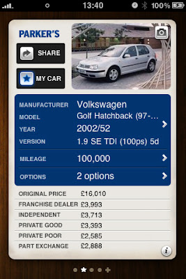 Parkers car price iphone app