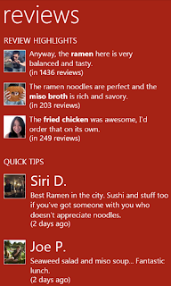 Yelp Windows Phone 7 App