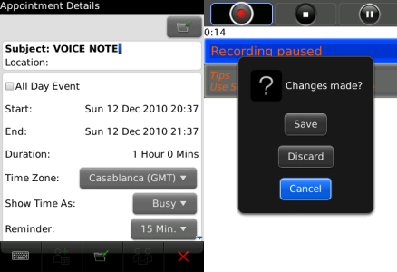 iVoiceNote for BlackBerry