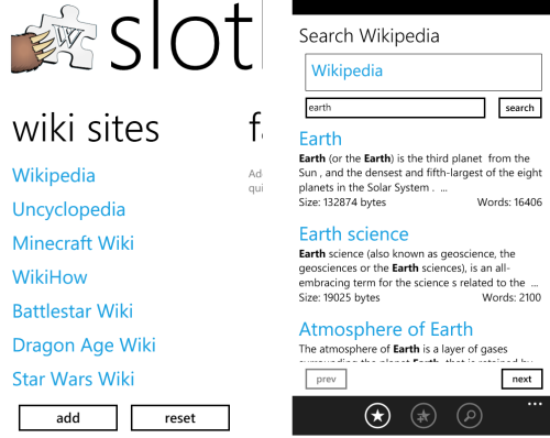 Slothcyclopedia windows phone 7 app