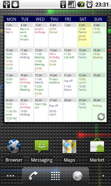 Touch Calendar App for Android Phones