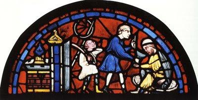 Mestre oferece vinho a cliente e aprendiz segura a cabeça, catedral de Chartres