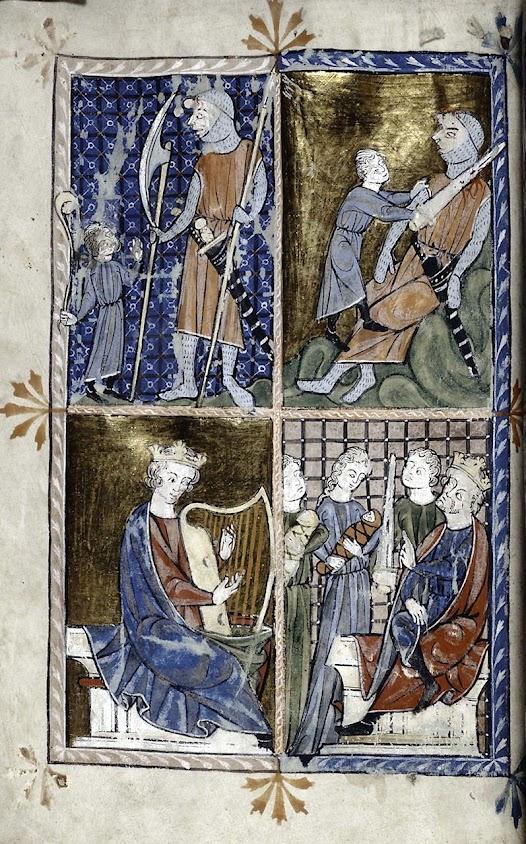 Episódios da vida do rei-profeta David. Salomão com muitas mulheres que o levaram à perdição. Manuscrito da Spencer Collection, Ms 002.