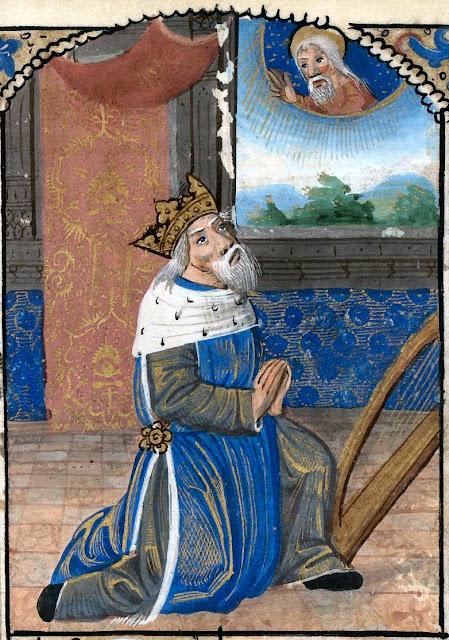 O rei Davi compondo os Salmos inspirado por Deus, Manuscrito na Universidade de California - Berkeley, nº 131