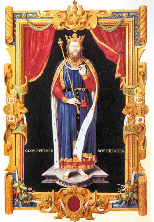 """Clovis I, representado no """"Reccueil des rois de France"""". Du Tillet,1550"""