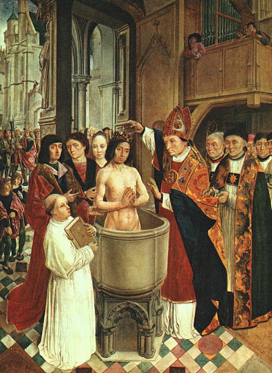 O batismo de Clóvis. Maestro de Saint Gilles