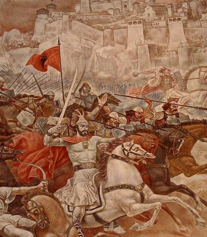 Skanderbeg, herói católico na luta contra os turcos  que tinham invadido sua pátria, a Albânia, nos Bálcãs