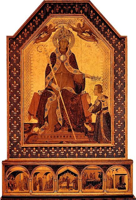 São Luís de Anjou, bispo de Toulouse entrega a coroa de Nápoles, à qual tinha renunciado, a seu irmão Roberto de Anjou. Simone Martini (1284-1344).