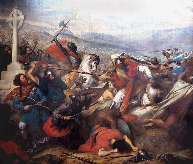 Carlos Martel montado em face a face com Abderrahman Al Ghafqi (direita). Óleo do barão Charles Guillaume Steuben (1788 – 1856). Sala das Cruzadas, Versailles