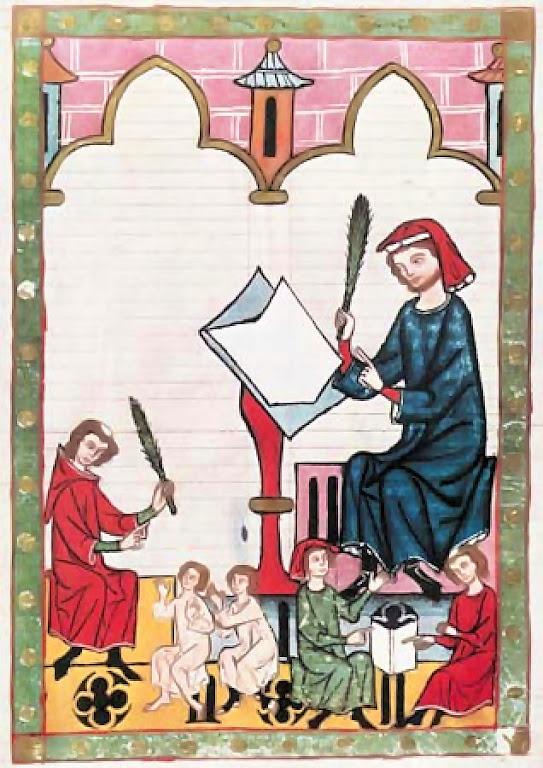 Escola medieval. Disciplina e aprendizado.