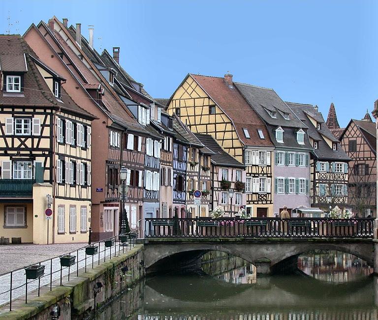 Casas populares em Colmar, Alsácia, França