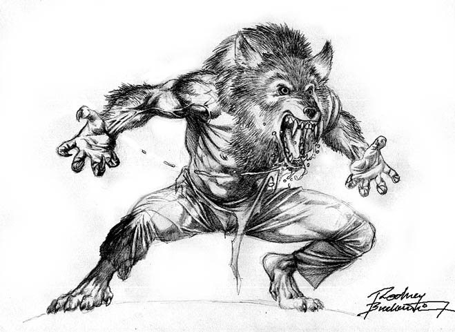 The wolf den: Werewolf - Black and white sketch (Buchemi)