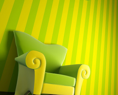 Yellow Lime Stripes Color Combo Antique Living Room Sets