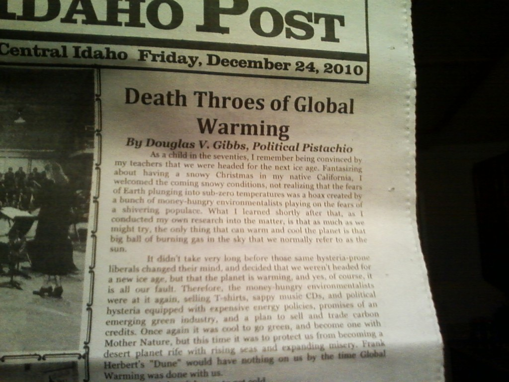 """Political Pistachio: """"Death Throes of Global Warming"""" Makes the Front Page!"""