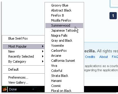 Personas for Firefox status bar menu