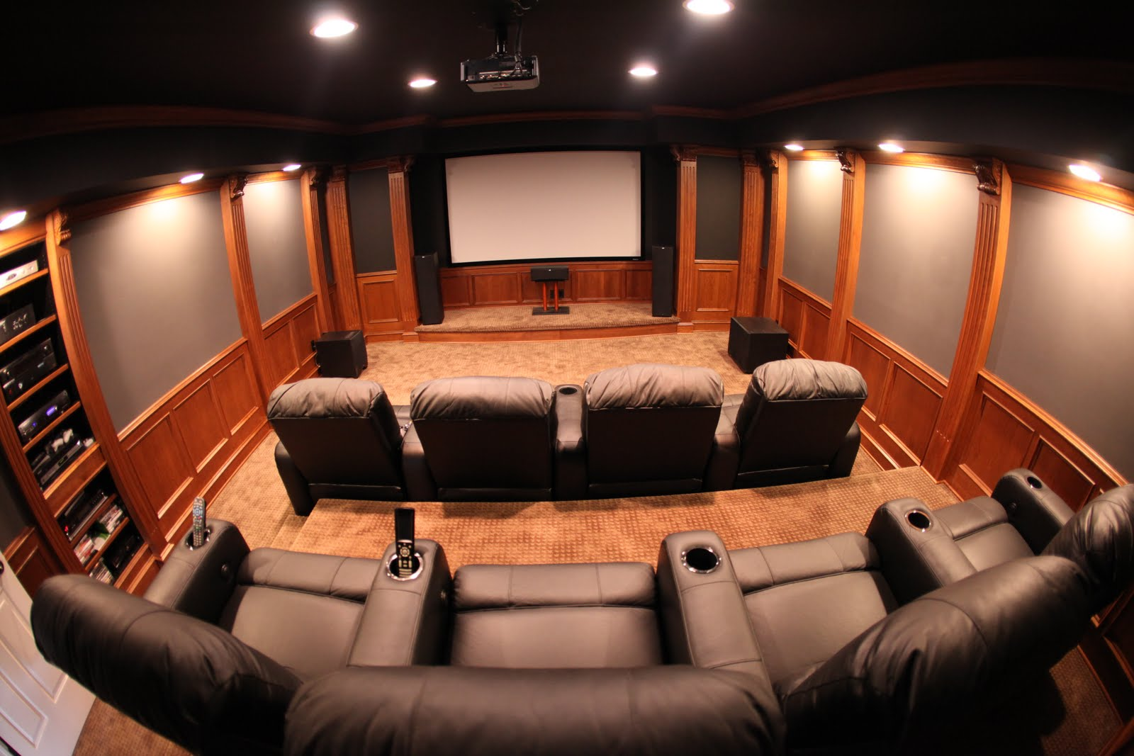 Mhi interiors theater room novi mi for Small room movie theater
