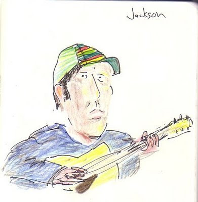 Drawing of Jackson B. on guitar