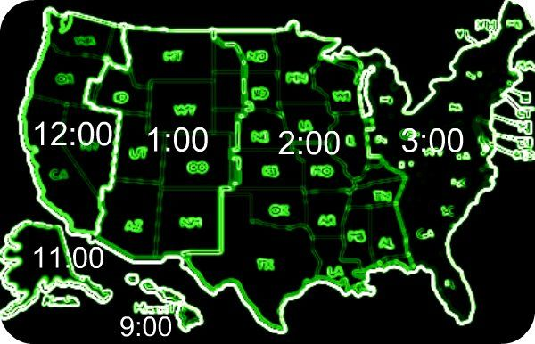 Us and canada map with time zones