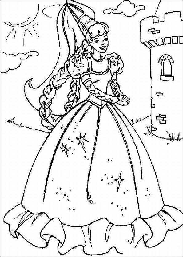 Disney Cartoon : Barbie Doll Princess Coloring Pages