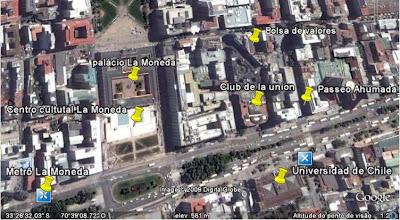 Localização de atrações turísticas do centro de Santiago no Chile