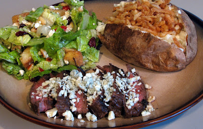 Balsamic and Garlic Flank Steak with Blue Cheese Crumbles