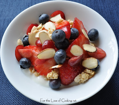 Yogurt and Granola Parfait with Fresh Fruit and Almonds