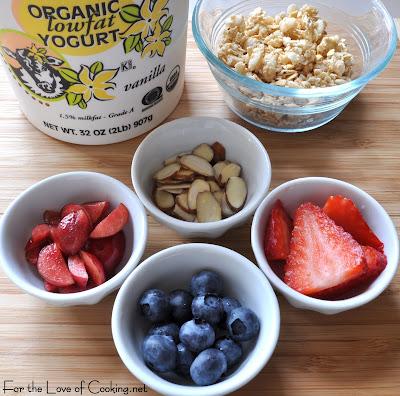 Yogurt and Granola Parfait with Fresh Fruit and Almonds