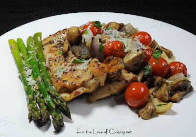 Roasted Chicken Thighs with Tomatoes, Garlic, Asparagus ...