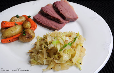 Corned Beef, Sautéed Cabbage and Onions, and Roasted Potatoes and Carrots