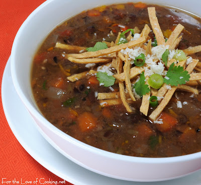Black Bean and Roasted Anaheim Chile and Bell Pepper Soup