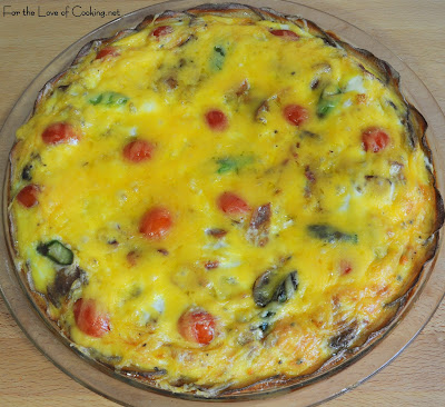 Mushroom, Asparagus, Bacon, and Tomato Quiche with a Potato Crust