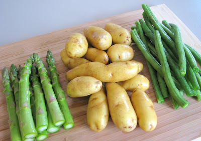 Roasted Fingerling Potatoes, Asparagus and Green Beans