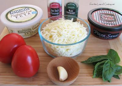 Tomato, Basil, Feta and Garlic Pizza