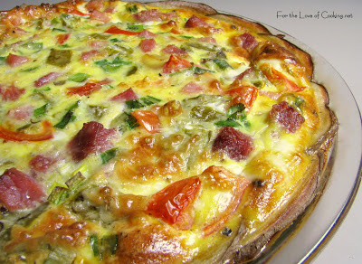 Green Chile and Ham Quiche with a Potato Crust
