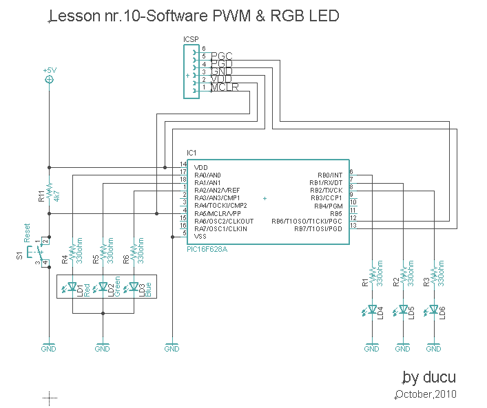 Electronic Experiments: Lesson nr 10-Software PWM & RGB LED