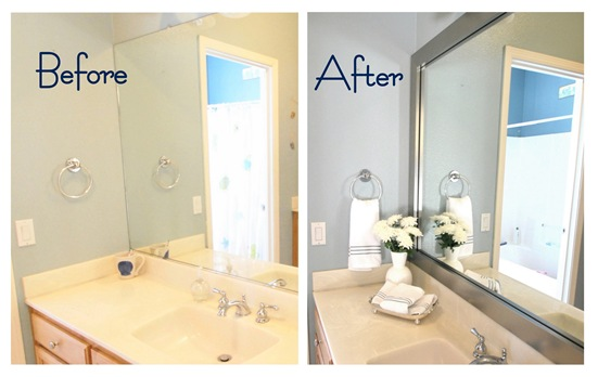Mirrormate frames before after photos from the - How do you frame a bathroom mirror ...