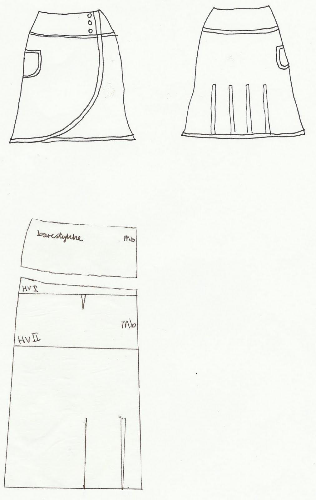 3ec27f95310 Slå om nederdel mønster