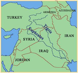 Middle East Map Euphrates River.The Middle East The Euphrates And Tigris River