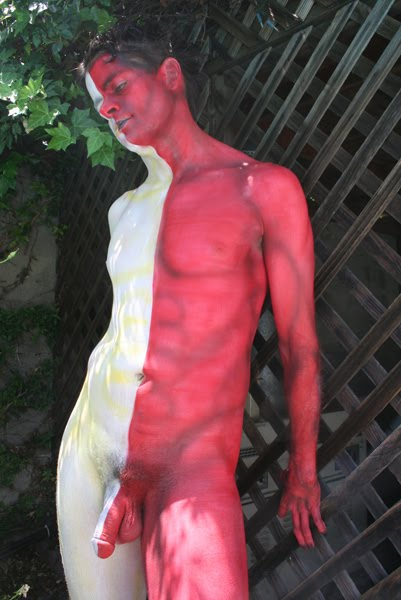Male nude body painting