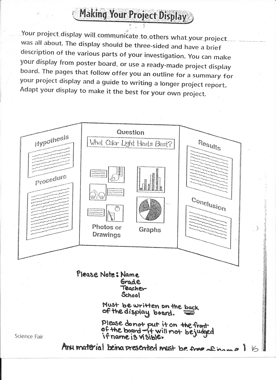 5th Grade Science Science Fair Packet Online